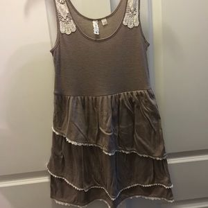 Anthropologie Eloise Brown Ruffled Tunic Small